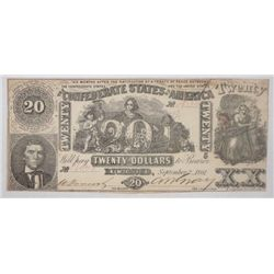 3rd issue of 1861$20 Confederate note AU/CU A PQ piece