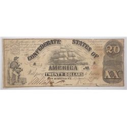 3rd issue of 1861$20 Confederate note  by Patterson  VF with several pinholes