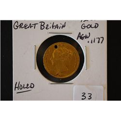 1867 Great Britain 1/2 Sou Gold Foreign Coin; Holed; .1177 AGW; EST. $250-300