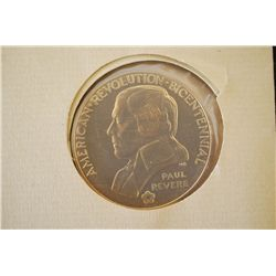 "1975 American Revolution Bicentennial ""Paul Revere"" Commerative First Day Cover Medal With First Day"