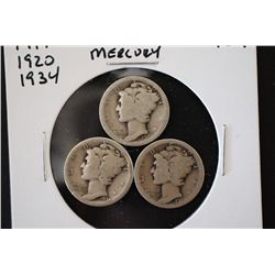 1917, 1920 & 1934 Mercury Dime; Lot of 3; EST. $6-10
