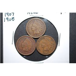 1906, 1907 & 1908 Indian Head One Cent; Lot of 3; EST. $3-8