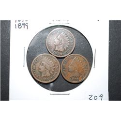 1880, 1893 & 1899 Indian Head One Cent; Lot of 3; EST. $3-10