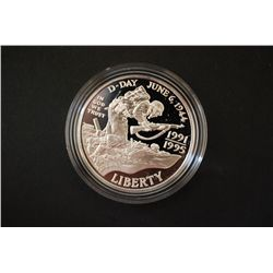 1991/1995-W WWII 50th Anniversary Commerative $1 Silver Proof; 90% Silver .76 Oz.; EST. $40-60