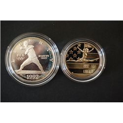 1992-S US Olympic Commerative $1 Proof & 1992-S US Olympic Commerative Half Dollar CLAD Proof; Lot o