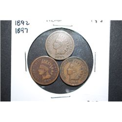 1890, 1892 & 1897 Indian Head One Cent; Lot of 3; EST. $5-10