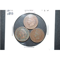 1888, 1891 & 1893 Indian Head One Cent; Lot of 3; EST. $5-10
