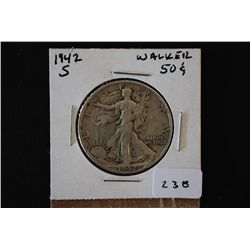 1942-S Walking Liberty Half Dollar; EST. $15-20
