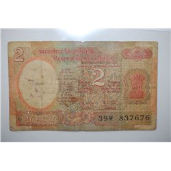 India Two Rupees Foreign Bank Note; EST. $3-6