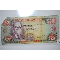 1998 Jamaica $20 Foreign Bank Note; EST. $3-6