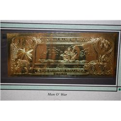 "Central Bank Of Belize $100 Foreign Bank Note ""Man O' War""; The First Gold Bank Notes Of Belize; EST"