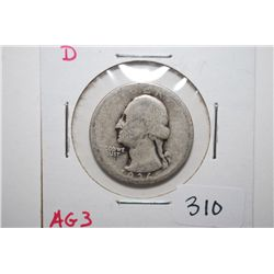 1936-D Washington Quarter; AG3; EST. $10-25