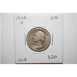 1948-D Washington Quarter; VG8; EST. $6-10