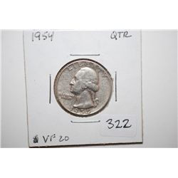 1954 Washington Quarter; VF20; EST. $6-10