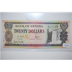 Guyana $20 Foreign Bank Note; EST. $3-6