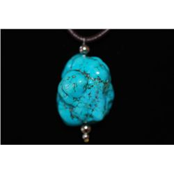 Brown Leather Necklace With Large Turquoise Charm; EST. $20-30