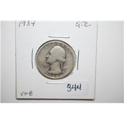 1934 Washington Quarter; VG8; EST. $6-10