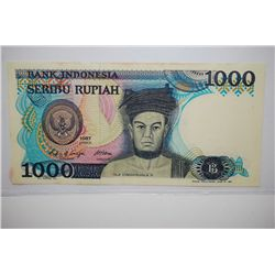 1987 Indonesia 1000 Seribu Rupiah Foreign Bank Note; EST. $5-10