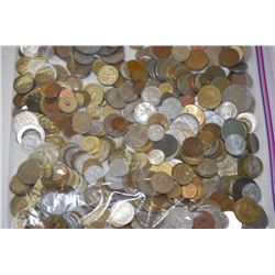 Foreign Coins & Tokens; Various Dates, Conditions & Denominations; 5 LBS; EST. $40-100