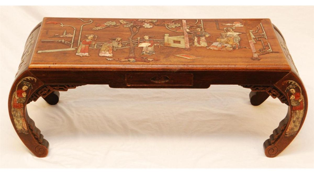 Chinese Carved Wood Inlaid Stone Coffee Table Loading Zoom