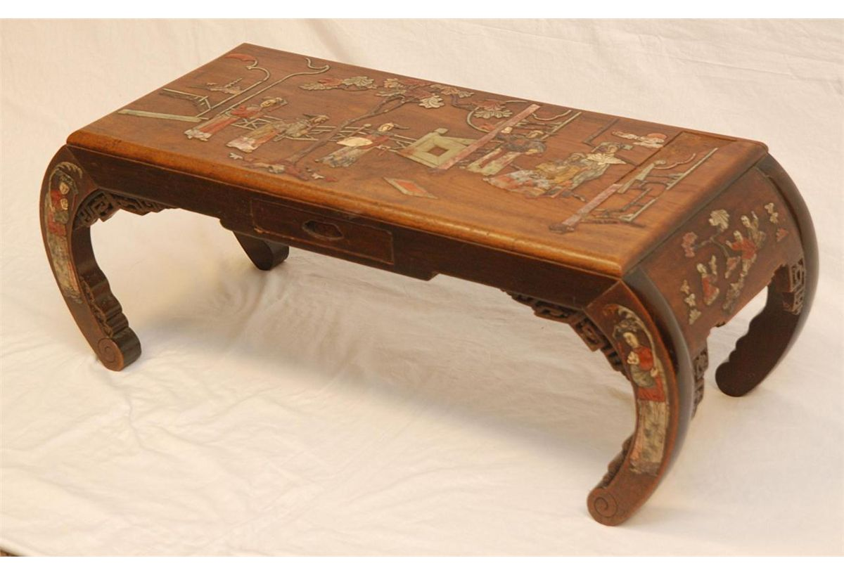 Chinese carved wood inlaid stone coffee table
