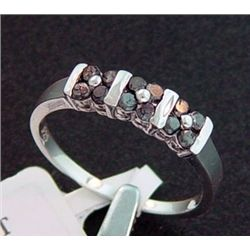 1/2 Ctw. Black Diamond 2-Row Band Ring In Sterling Silver