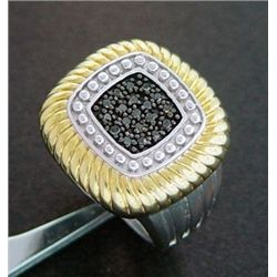 1/4 Ctw Black Diamond Rope Ring In Sterling Silver