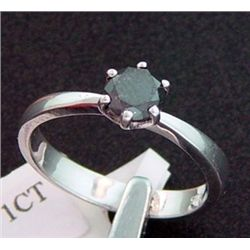 1.0 Ct. Black Diamond Solitaire Ring In Sterling Silver