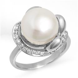 Genuine 0.25 ctw Pearl &amp; Diamond Ring 10K White Gold