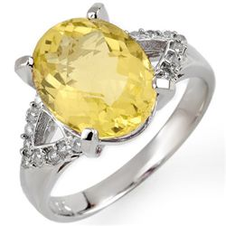 Genuine 5.2 ctw Lemon Topaz & Diamond Ring 10K Gold