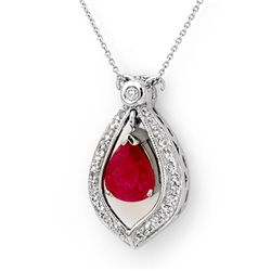 Genuine 4.4 ctw Ruby & Diamond Necklace White Gold