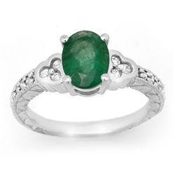 Genuine 2.29 ctw Emerald & Diamond Ring 14K White Gold