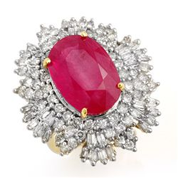 Genuine 12.16 ctw Ruby & Diamond Ring 14K Yellow Gold