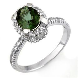 Genuine 2.10ctw Green Tourmaline & Diamond Ring Gold