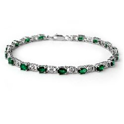 Genuine 5.02 ctw Emerald & Diamond Bracelet White Gold