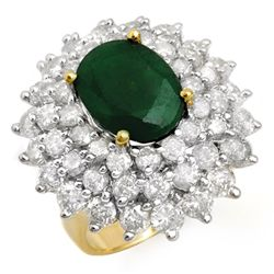 Genuine 10.02ctw Emerald & Diamond Ring 14K Yellow Gold