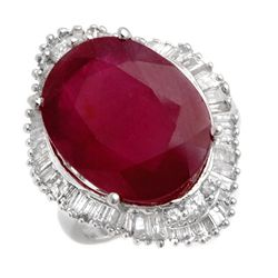 Genuine 15 ctw Ruby & Diamond Ring 14K White Gold