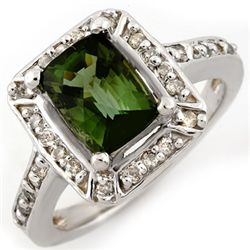Genuine 2.40ct Green Tourmaline & Diamond Ring 14K Gold