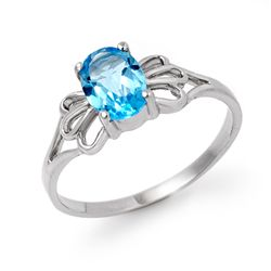 Genuine 0.90 ctw Blue Topaz Ring 10K White Gold