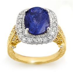 Genuine 5.4ct Tanzanite & Diamond Ring 14K 2tone Gold