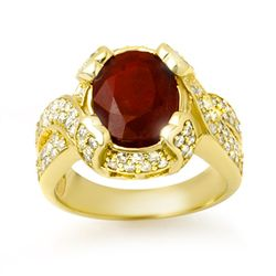 Genuine 7.0 ctw Ruby & Diamond Ring 14K Yellow Gold
