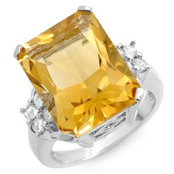 Genuine 10.5 ctw Citrine & Diamond Ring 10k Gold