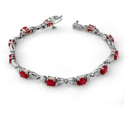 Genuine 7.11 ctw Ruby & Diamond Bracelet White Gold