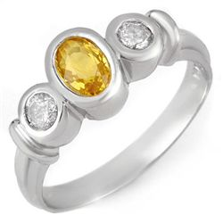 Genuine 1.05 ctw Yellow Sapphire &amp; Diamond Ring Gold