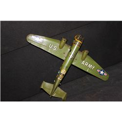 "TIN ARMY PLANE BY MARX -  13"" LONG - 18"" WING SPAN"