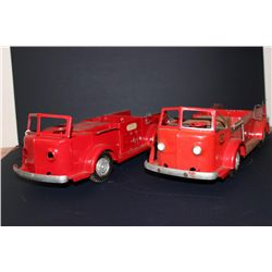 2 MODEL FIRETRUCKS - MISSING BACK TIRES - 18""