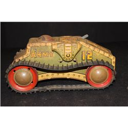 ARMY TRACK TANK - WIND UP - WORKS GOOD - 10""