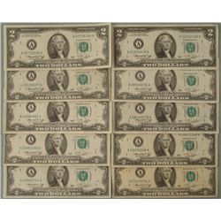 10) 1976 $2 Notes A Mint Mark Boston- Nice Bills