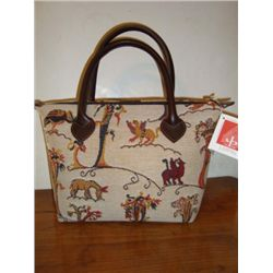 French handbag by J. Pansu with Medieval Tapestry
