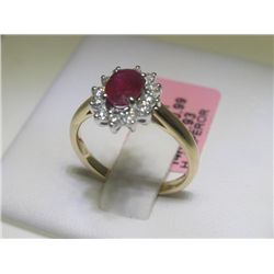 Ruby and 12 Diamonds 14K Yellow Gold Ring H. Emperor